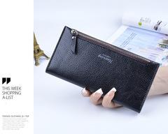 Korean version of soft face thin ladies wallet long wallet black onesize