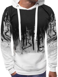 New men's printed sweater long-sleeved hoodie sweatshirt jacket white M