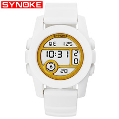 SYNOKE multi-function outdoor sports electronic watch women's watch waterproof electronic watch white