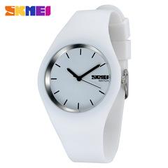 SKMEI Fashion Couple Watch Silicone Strap Waterproof Creative Quartz Watch white