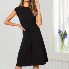 Black five European and American women's fashion round neck lace short-sleeved dress H0724 black s