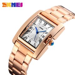 Skmei retro business ladies quartz watch steel strap rose gold roman tick watch rose gold