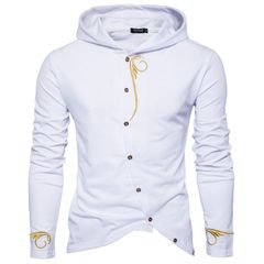 New embroidered sweater men's casual hooded jacket white m