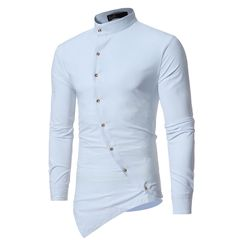 New solid color casual men's irregular hem long-sleeved shirt Ou code ZT-CS13 white m