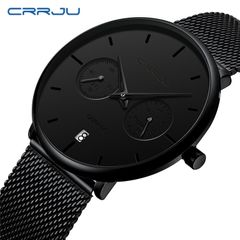 Crrju new men's watch Star Fashion Business Watch black needle