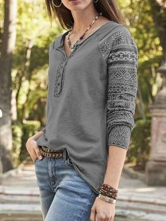 ladies top solid pattern bottomed T-shirt gray 5xl