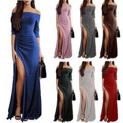 Women's dress shiny dress dress dinner dress long dress gray 3xl