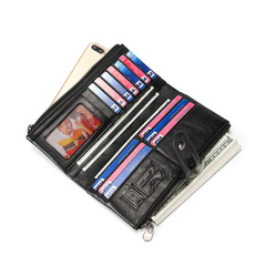 Long Wallet Zipper Pocket Genuine Leather Wallet Bifold Money Card Holder Zip Coin Pocket black one size