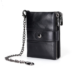 Wallet Genuine Leather Minimalist Vintage Stylish Wallets for Men Short Purse Bifold Zipper Pockets black one size