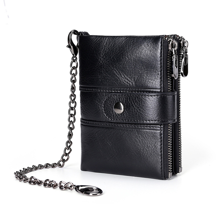 Wallet Genuine Leather Minimalist Vintage Stylish Wallets for Men Short Purse Bifold Zipper Pockets black one size