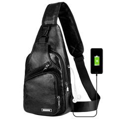 Men's Sling Shoulder Bag PU Leather Outdoor Chest Bag with USB Port Casual Shoulder Bag Satchel Back black one size