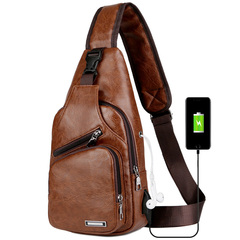 Men's Sling Shoulder Bag PU Leather Outdoor Chest Bag with USB Port Casual Shoulder Bag Satchel Back brown one size