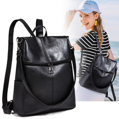 Women Backpack Purse PU Leather Ladies Rucksack Shoulder Bag Casual Shoulder Bag Fashion Satchel Bag black one