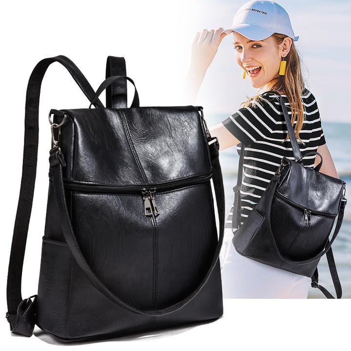 Women Backpack Purse PU Leather Ladies Rucksack Shoulder Bag Casual Shoulder Bag Fashion Satchel Bag black one
