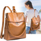 Women Backpack Purse PU Leather Ladies Rucksack Shoulder Bag Casual Shoulder Bag Fashion Satchel Bag brown one