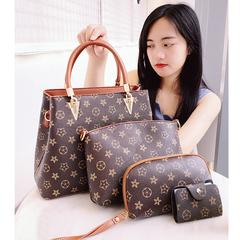 Women Handbags Shoulder Bag Ladies Designer Satchel Tote Top Handle Work Bag 4pcs Purse Set coffee with brown one size