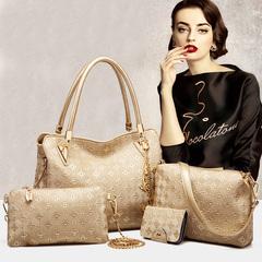 Womens Handbag Tote Shoulder Bags Satchel 4pcs Purse Set Handbags+Shoulder Bag+Purse+Card Holder gold one size