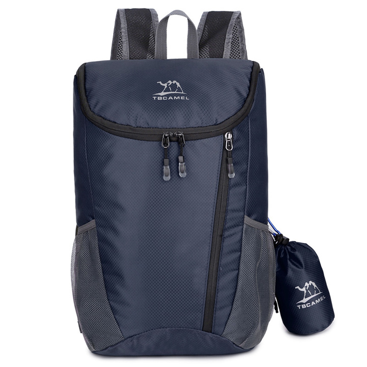 new simple style fashion outdoor lightweight sports foldable soft backpack waterproof hiking travel dark blue one size