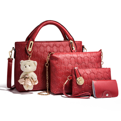 Women's handbag 2019 summer new four-piece mother bag bear shoulder slung handbag red one size