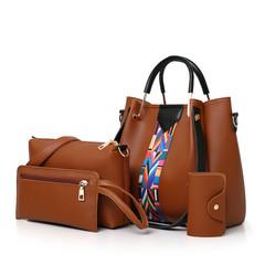 4 Pack Women Handbag Set, Soft PU Leather Top Handle Bags Set, Tote Bag, Shoulder Bags Crossbody Bag brown one size