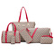 Women Fashion Synthetic Leather bags+ Handbags+Shoulder Bag+Purse+Card Holder+key bags 6pcs Set Tote red one size