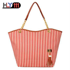 New striped tassel canvas bag, Kenya fashion women's bag large capacity shoulder bag casual handbag Red White stripe One size