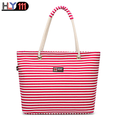 latest shoulder bag Chinese style striped casual Women handbag simple large capacity shopping bag Red one size