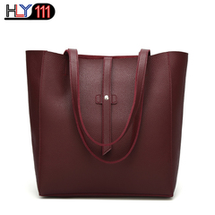 HLY111 Fashion Women's Large Tote Shoulder bag  Soft Leather High quality Bag Chinese style Handbag Wine red one size