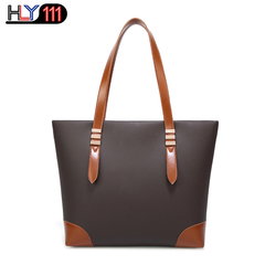 HLY111 fashionable new lady's handbag simple matching color tote bag PU wear-resistant shoulder bag brown one size