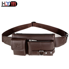 Genuine leather waist bag multi-functional sports bag Men's leisure single shoulder bag fashion cro brown Small