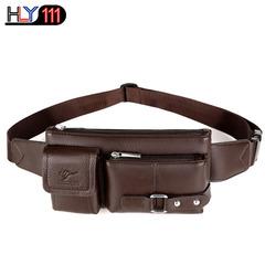Genuine leather waist bag multi-functional sports bag Men's leisure single shoulder bag fashion cro brown Small