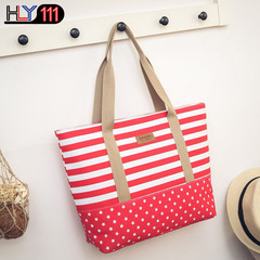 canvas handbag fashionable lady bag with spliced color stripes leisure lady bag with college style red one size