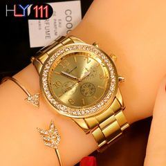 New Watch Women Classic Geneva Luxury Ladies Watches Womens Full Steel Crystal Metal Wristwatch gold