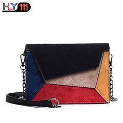 Retro Matte Patchwork Crossbody Bags for Women Messenger Bags Chain Strap Shoulder Bag Lady Bag black one size