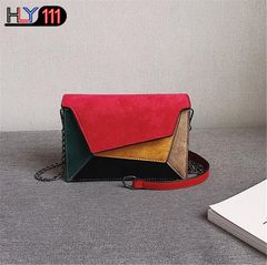 Retro Matte Patchwork Crossbody Bags for Women Messenger Bags Chain Strap Shoulder Bag Lady Bag red one size