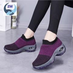 ZW Women Shoe Air-cushioned Flying Weaving Women's Sports Shoes Fashion Leisure Shoes violet 36