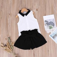 Girls Clothing Set Chiffon Sleeveless Tops+Bowknot Shorts 2pcs Kid Suits Children Clothing Girls black 90