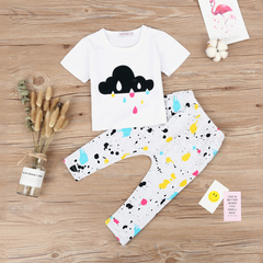 Toddler Girl Clothes Summer Short Sleeves Print Clouds Rain T-shirt+Pants Suits Kids Clothing white 70