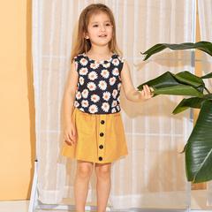 Summer Baby Girls Clothing Set Sleeveless Print Sunflower Vest+Skirt 2pcs Outfit Children's Clothing yellow 130