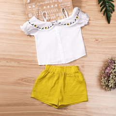 Baby Girls Clothes Summer Children Clothing Condole belt Embroidery Top+Shorts Sets Outfits yellow 100