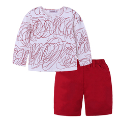 Family Clothing Sister And Brother Long Sleeve Print Graffiti T-shirt+Red Skirt&Shorts photo color 110