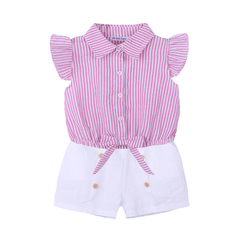 Toddler Girls Summer Clothing Set Kids Clothes Stripe Bow Shirts+White Shorts 2 Pieces Suits Child pink 120