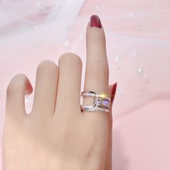 European and American diamond set knot ring female micro zircon ring ring fashion index finger ring silver adjustable
