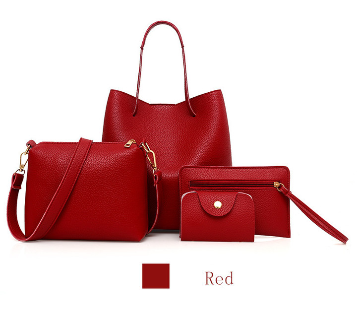 2019 new fashion 4pcs Women Composite Bag Set PU Leather Purse handbag wallet red one set
