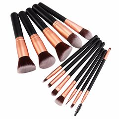 12Pcs Makeup brushes set Wooden handle Makeup Tools Face Eye shadow Powder foundation brush black
