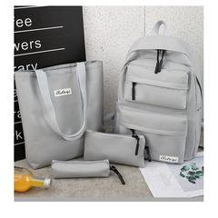 4Pcs/Set Chain Canvas Backpack Travel Rucksacks Leisure Backpacks For Teenage Girls School Bagpack black one set