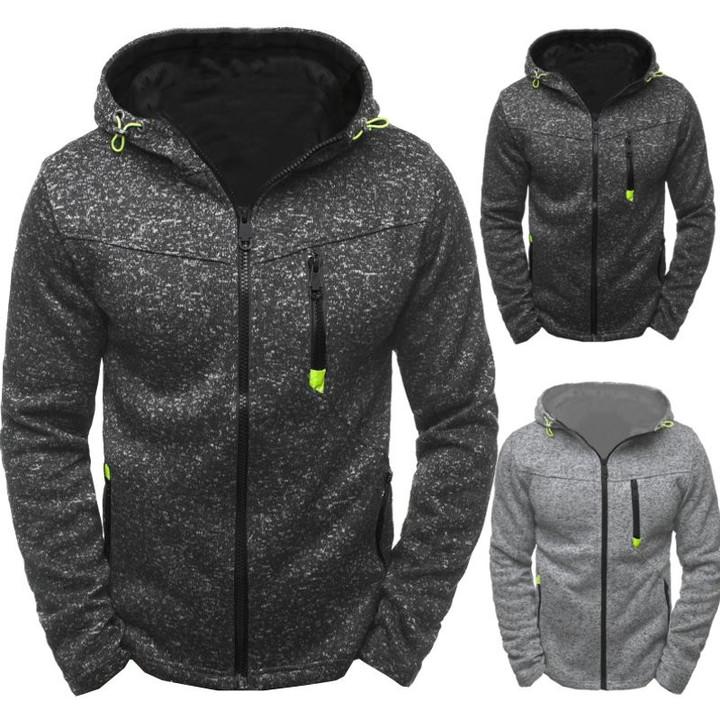 Men Sports Casual Wear Zipper Fashion Hoodies Fleece Jacket Fall Sweatshirts Autumn Winter Coat blue S