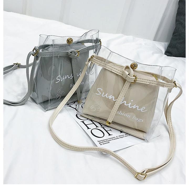 2pcs Fashion Transparent Clean Chain Crossbody Clutch Shoulder Bags For Women Girls Messenger Bag black one set 22 22*20*10 120