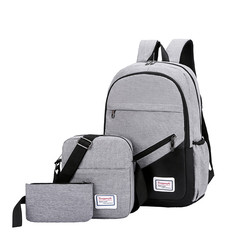 3 Pc/set  Men Women Casual Backpack Travel Laptop Backpack School Bag Anti Theft Waterproof gray one set