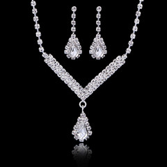 Jewelry Set Simulated Crystal Dimond Necklace Earrings Bride Necklace Earrings Set Party Jewelry Set as picture set